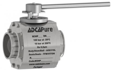 Válvula de bola de tres piezas alta pureza dn 150 asme bpe M3HP
