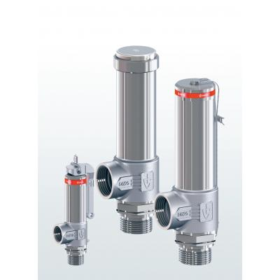 2400 Safety valves made of stainless steel, angle-type with threaded connections
