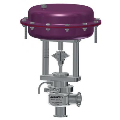 Hygienic control valves PV926H (angle valve with linear actuator PA series DN 15-100)