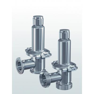Hygienic 400 Safety valve made of stainless steel, angle type, with stainless steel spring