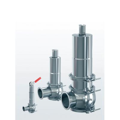 Hygienic 4000 Safety valve made of stainless steel, angle type, with stainless steel spring