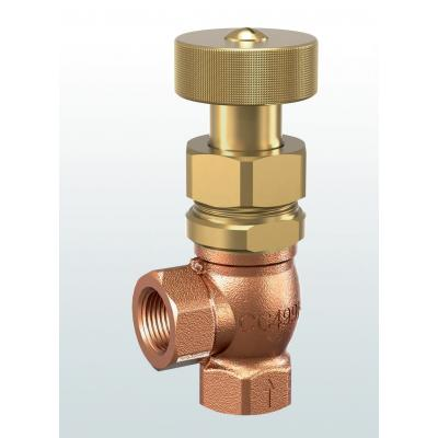 608 Overflow and pressure control valves made of gunmetal, angletype with threaded connections –externally adjustable–