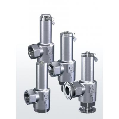 417 Overflow and pressure control valves made of stainless steel, angletype with threaded connections –externally adjustable–