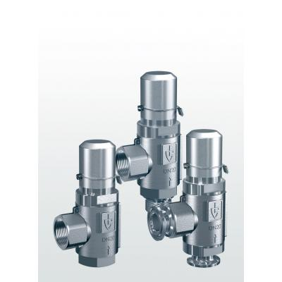 418 Overflow and pressure control valves made of stainless steel, angle-type with threaded connections –externally adjustable–