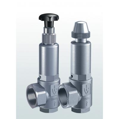453 Overflow and pressure control valves made of stainless steel, angle-type with  hreaded connections –externally adjustable–