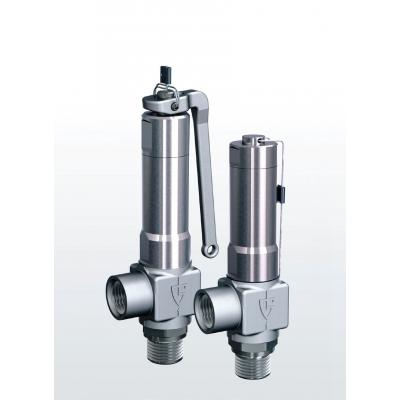 420 Safety valves made of stainless steel, angle-type with threaded connections
