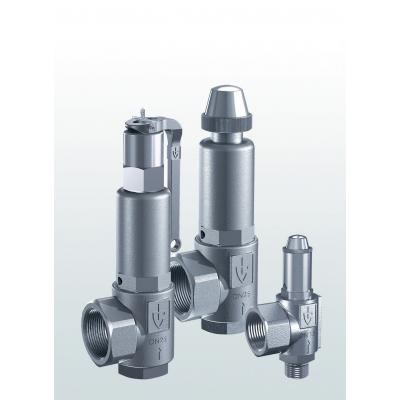 451 Safety valves made of stainless steel, angle-type with threaded connections