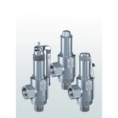 461 Safety valves made of stainless steel, angle-type with threaded connections
