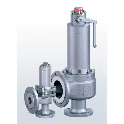 455 Safety valves made of stainless steel, angle-type with flange connections
