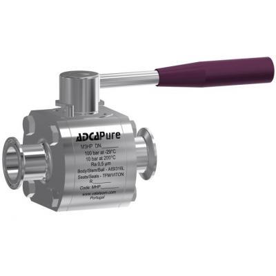 Válvula de bola de tres piezas alta pureza dn10 50 din M3HP