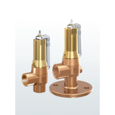 Válvula de seguridad en bronce de paso angular con conexiones bridadas o roscadas 642