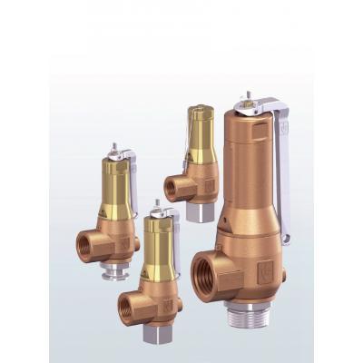 Válvula de seguridad en bronce de paso angular con conexiones roscadas 6420