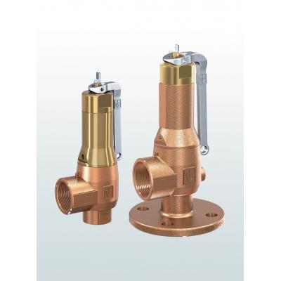 Válvula de seguridad en bronce de paso angular con conexiones bridadas o roscadas 645