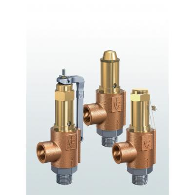 Válvula de seguridad en bronce de paso angular con conexiones roscadas 861