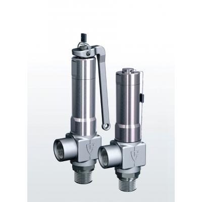 Válvula de seguridad en acero inoxidable de paso angular con conexiones roscadas 420