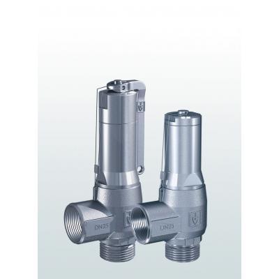 Válvula de seguridad en acero inoxidable de paso angular con conexiones roscadas 460