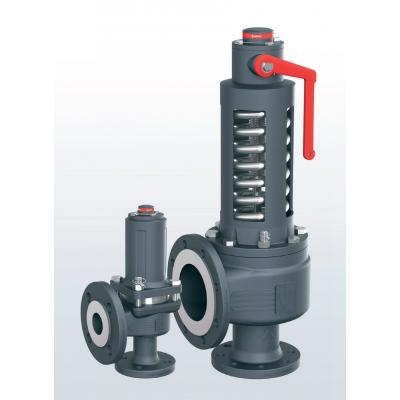 Válvula de seguridad en fundicion nodular paso angular con conexiones bridadas 355